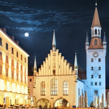 View of town tower and church at Marienplatz at night Munich