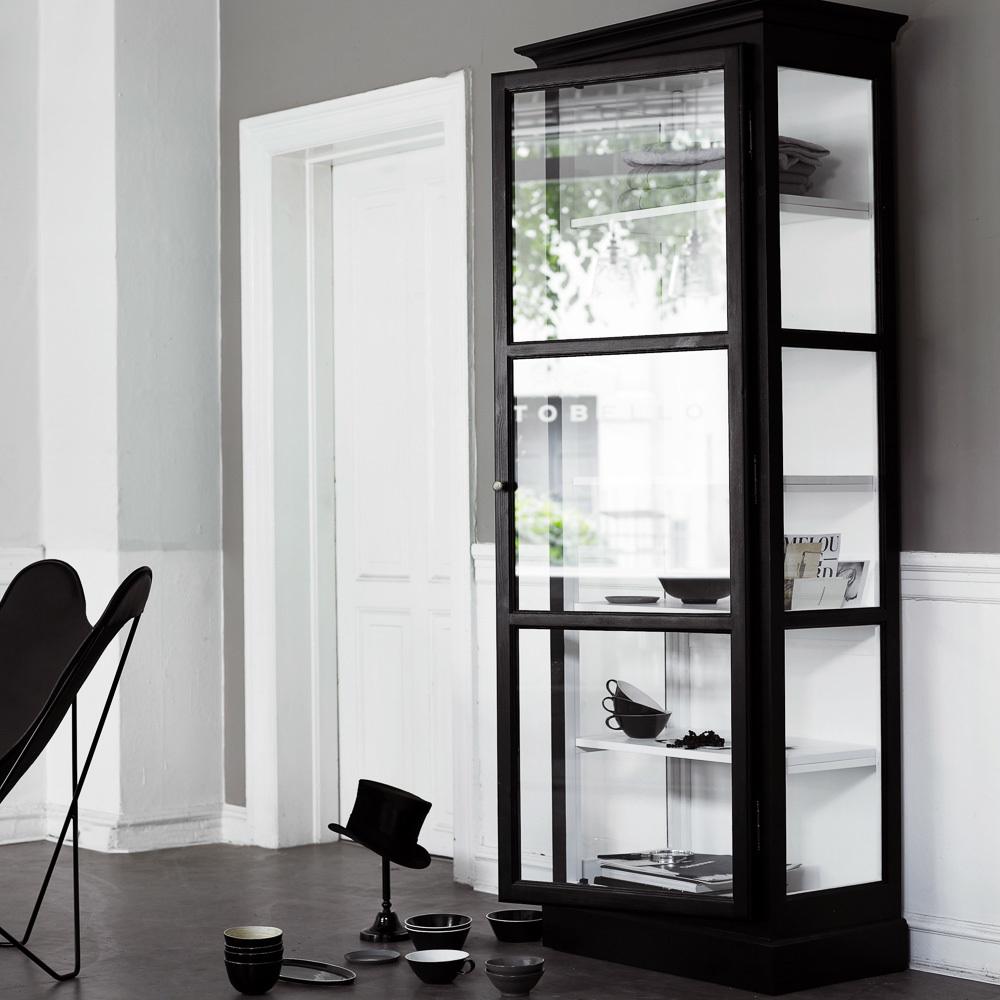 Lindebjerg Design Glas Vitinen Schränke schwarze Vitrine