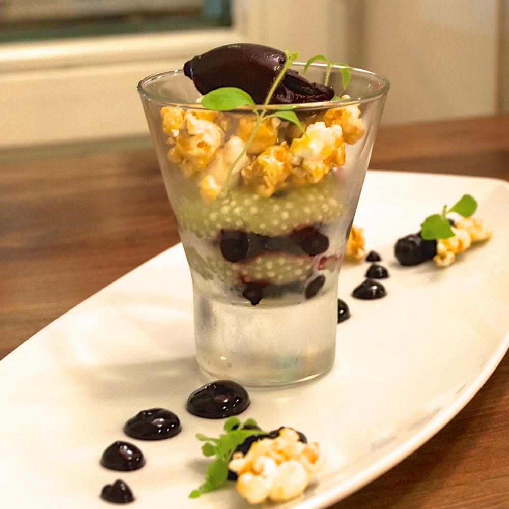 Mio Matto Veganes Restaurant Berlin Dessert mit Popcorn