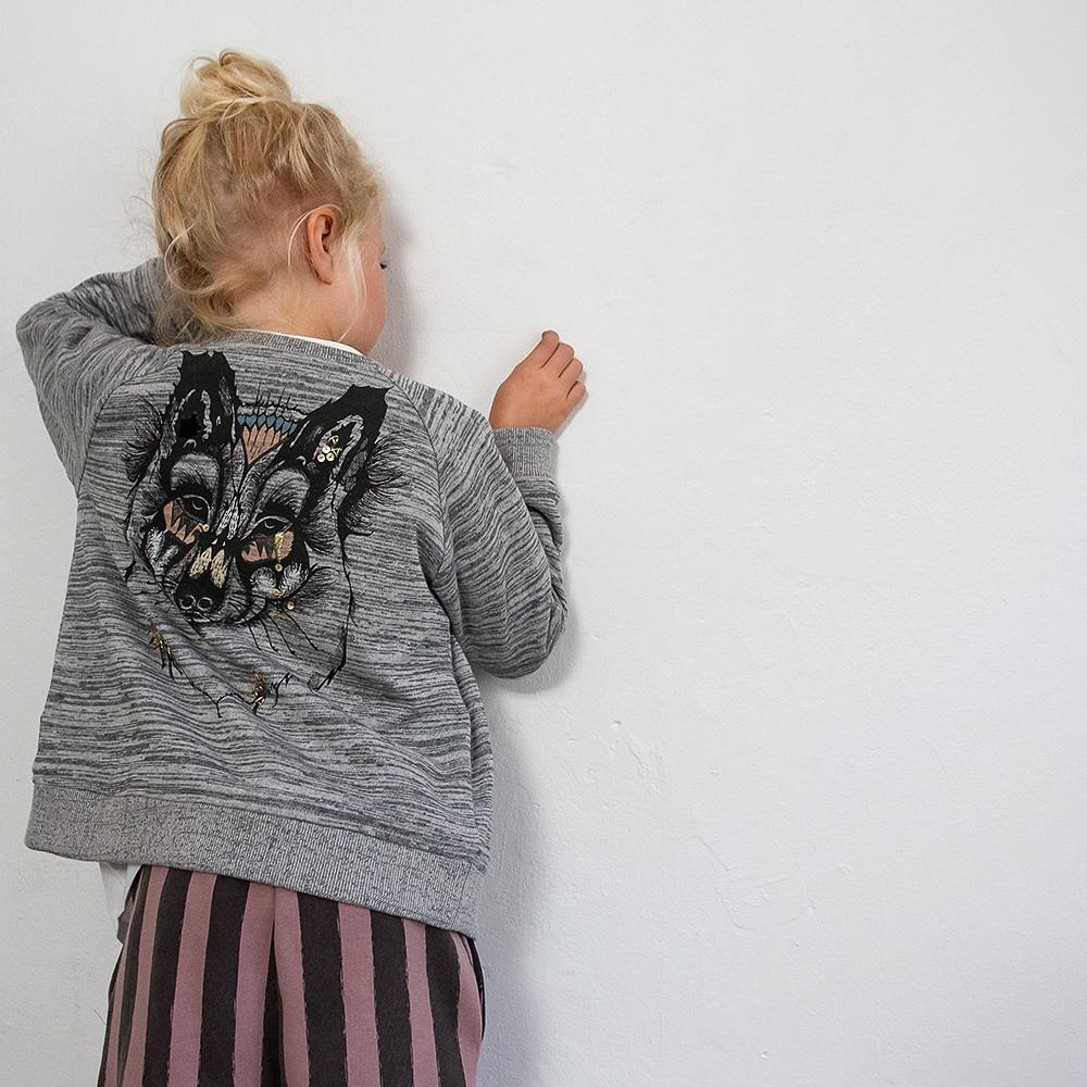 Milk Copenhagen Kindermode zuhause bestellen Pullover mit Wolfskopf