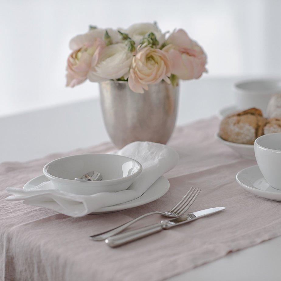 The Linen Company Leinen Wäsche Tischwäsche in rosa und weiß
