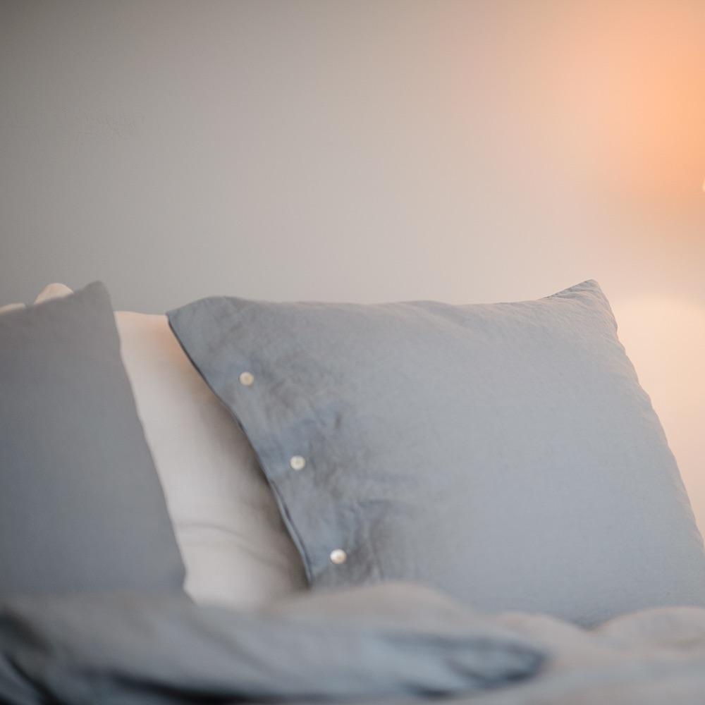 The Linen Company Leinen Wäsche graue Kissenbezüge