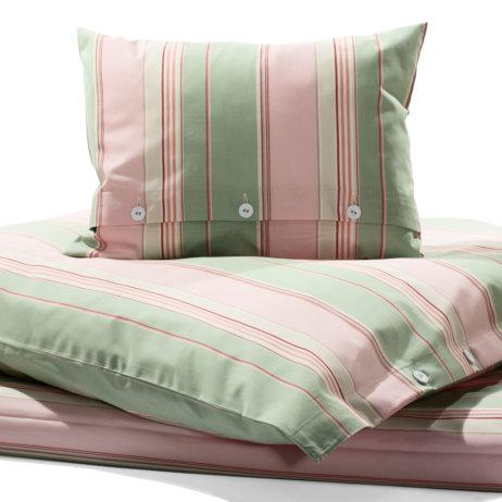 Stoffkontor Bettwäsche mit Blockstreifen Rosa und Grün