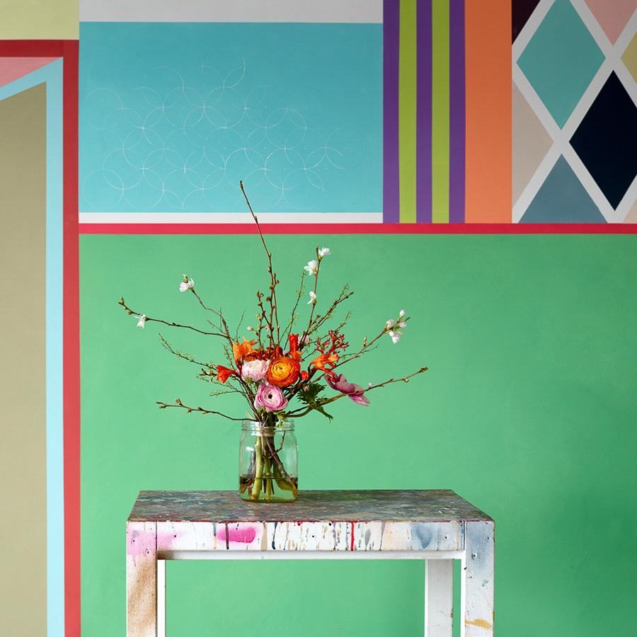 Charlotte Crome farbige Wandgestaltung Mint