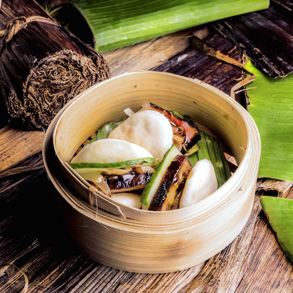 Mun Restaurant und Bar - Dim Sum mit Schweinefleisch im traditionellen Bambuskörbchen