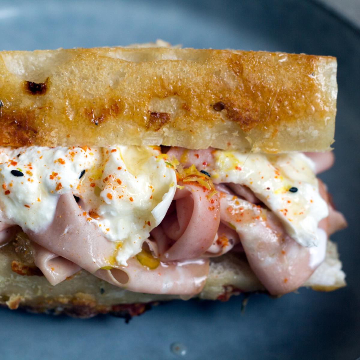 Tinman Berlin Mortadella Burrata Sandwich